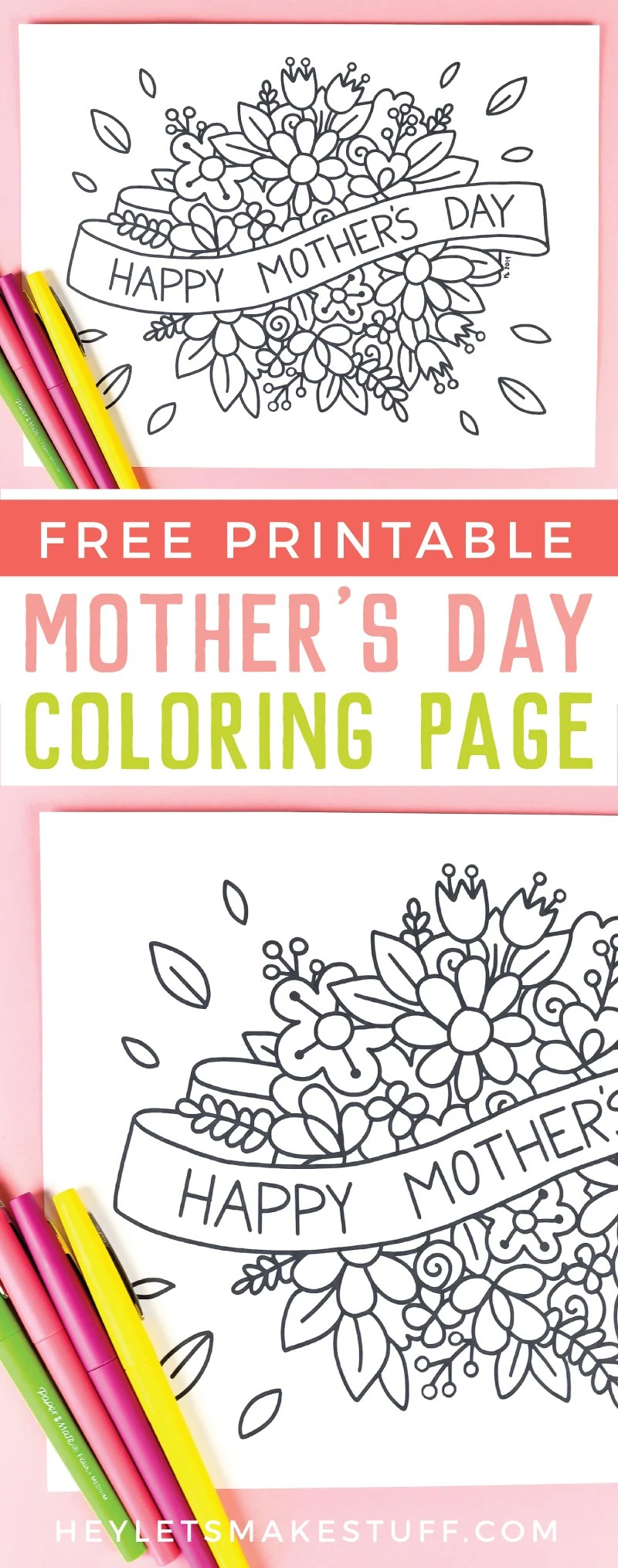 This free printable Mother's Day coloring page is just for Mom! Beautiful flowers are just waiting to be filled in with colorful personality. Print it out for free! via @heyletsmakestuf