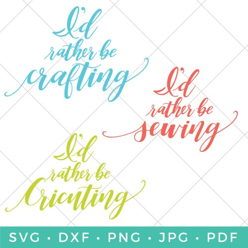 "If busting out those craft supplies and creating is your escape, then this ""I'd Rather Be Crafting SVG Bundle"" is for you! Keep calm and craft on!"