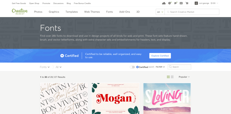 Screenshot of Creative Market homepage with free fonts for the cricut