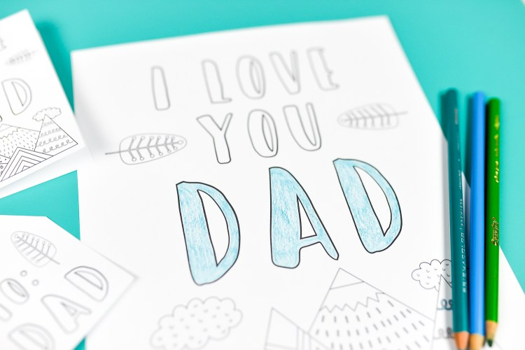 Close-up photo of Father's Day coloring page.