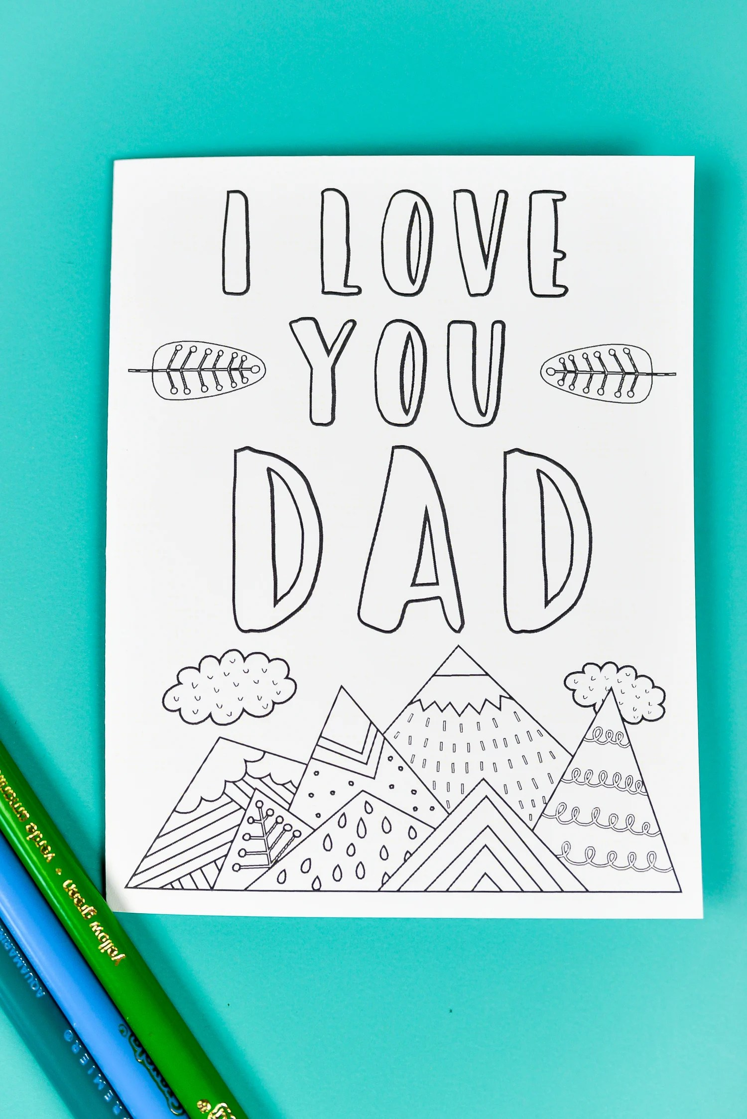 This is a photo of Shocking Printable Fathers Day Cards to Color