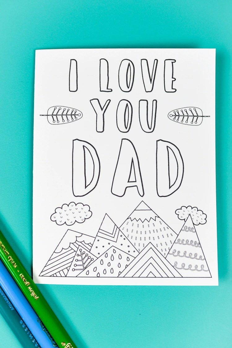 Printable Father's Day card with coloring pencils.