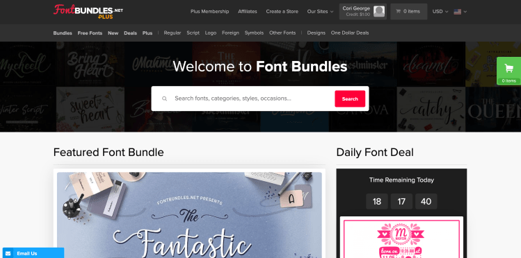 Screenshot of Font Bundles Homepage with free fonts for the cricut