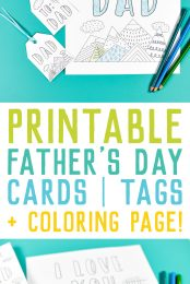 Printable Father's Day Card & Gift Tags + Bonus Coloring Page!