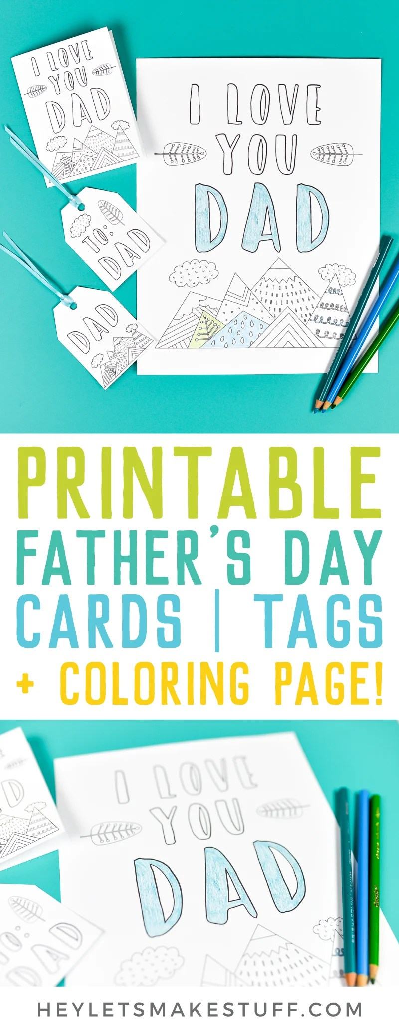 image relating to Printable Fathers Day Card named Printable Fathers Working day Card Present Tags + Reward Coloring Website page!