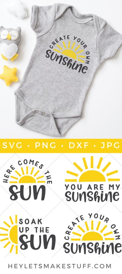 Add a little sunshine to your life with this Sunshine and Sun SVG Bundle. These bright yellow rays of happiness are perfect for summer tanks, picnic totes, coolers and much more.