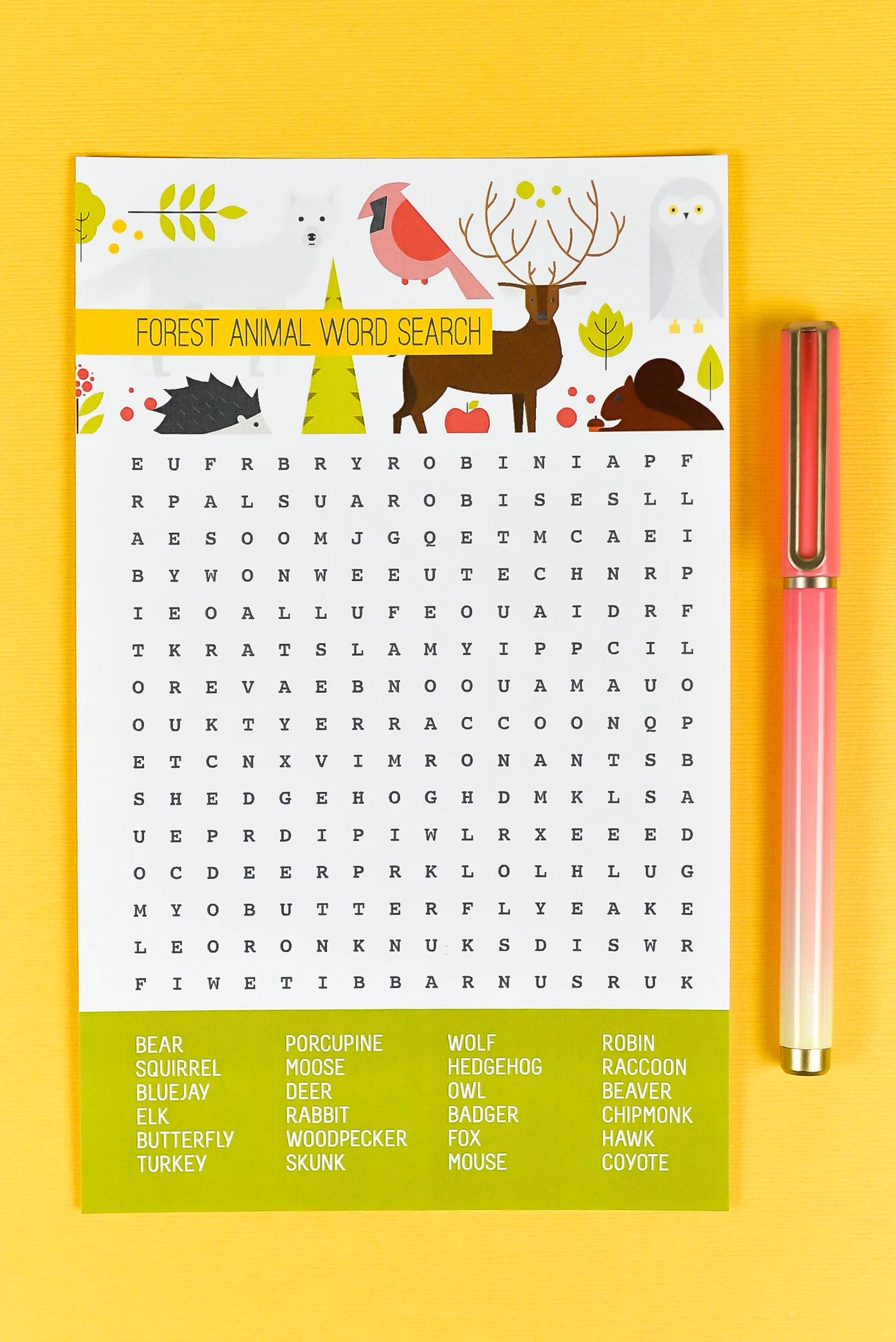 Head to the forest with this fun animal word search! This free printable forest animal word search is great for woodland birthday parties, baby showers, and more!