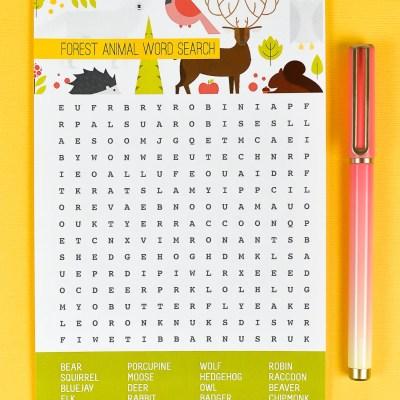 Free Printable Woodland Animal Word Search