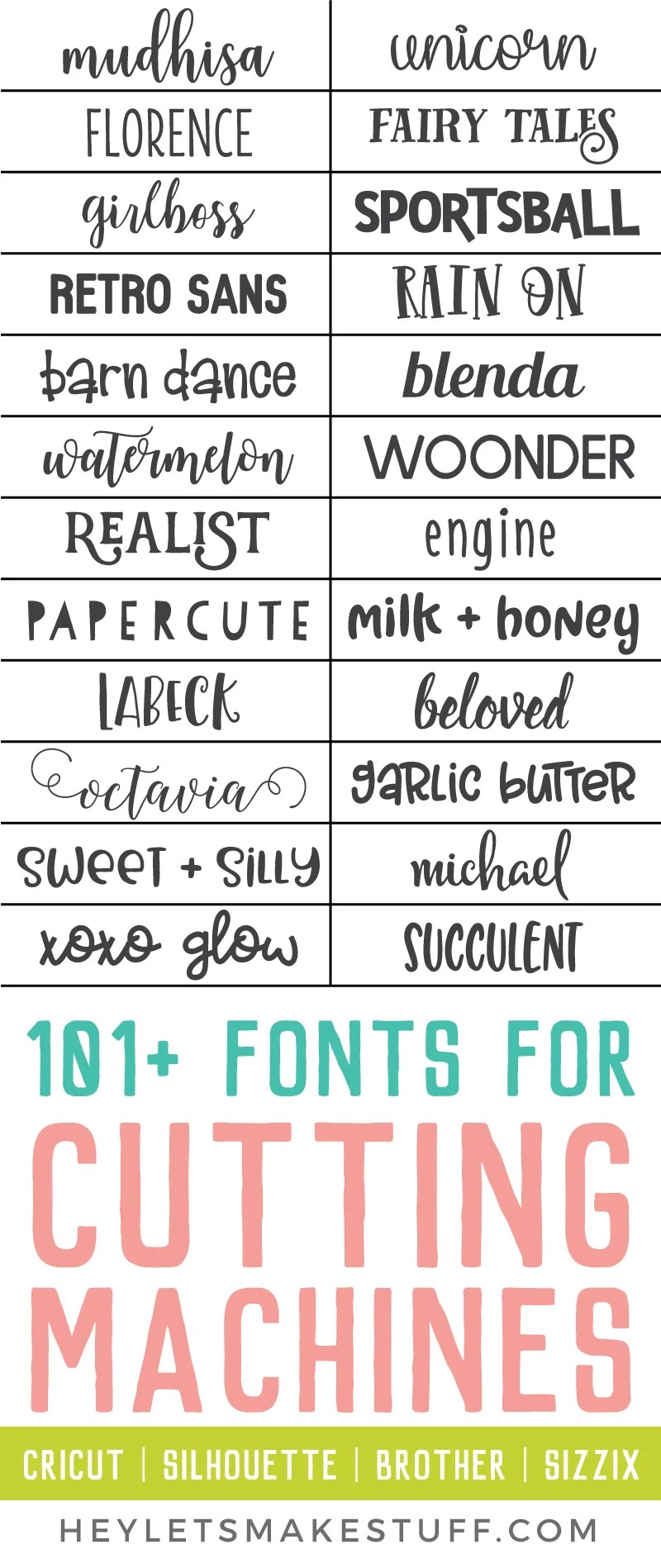 Looking for fonts that cut well on your Cricut, Silhouette, Brother, or Sizzix machine? Look no further! Here are more than 100 fonts for cutting machines that will cut cleanly and beautifully! via @heyletsmakestuf