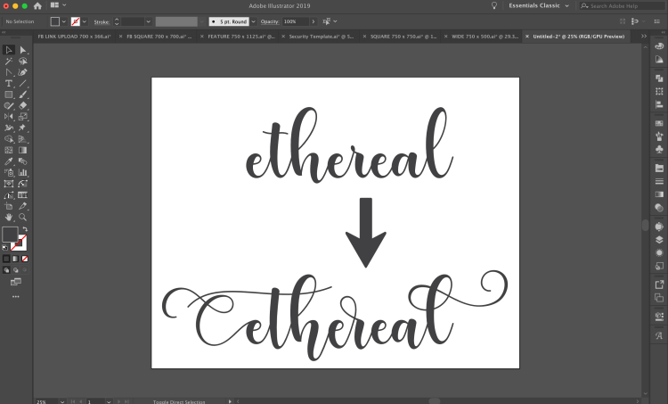 before and after examples of using glyphs in Illustrator
