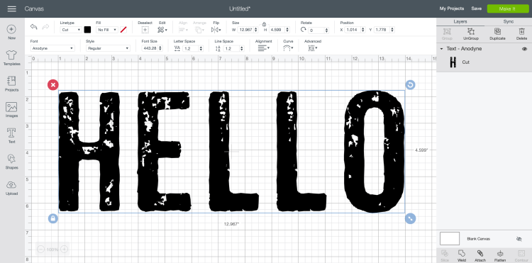 Screenshot of ANODYNE font in Cricut Design Space