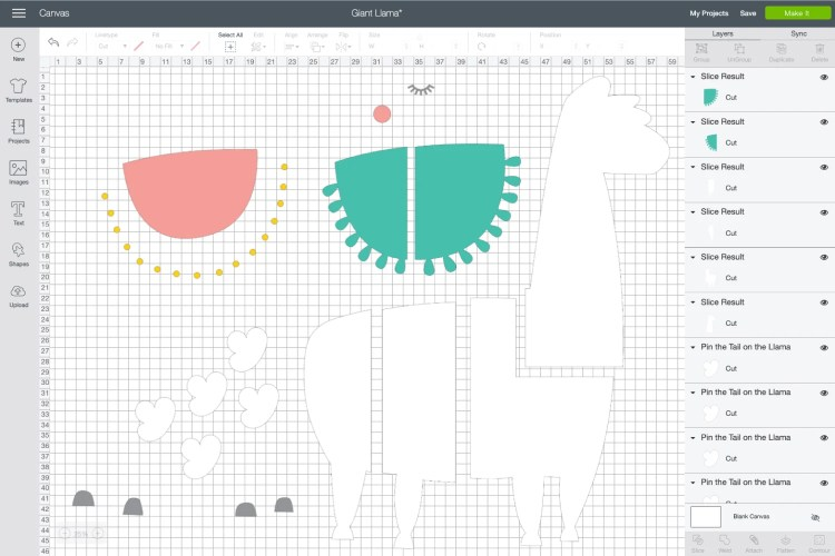 "Have you ever wanted to make a Cricut project bigger than mat? You can use the Slice tool in Cricut Design Space to tile a Cricut ""off the mat"" project—like this cute Pin the Tail on the Llama game!"