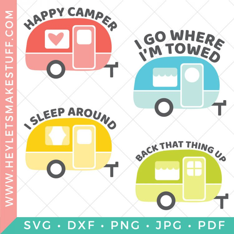 It's time to get your camp on! This Vintage Camper SVG Bundle is full of sassy camper 'tude, perfect for all your camper gear, decor and accessories. Hitch up the trailer, the open road is waiting for you.