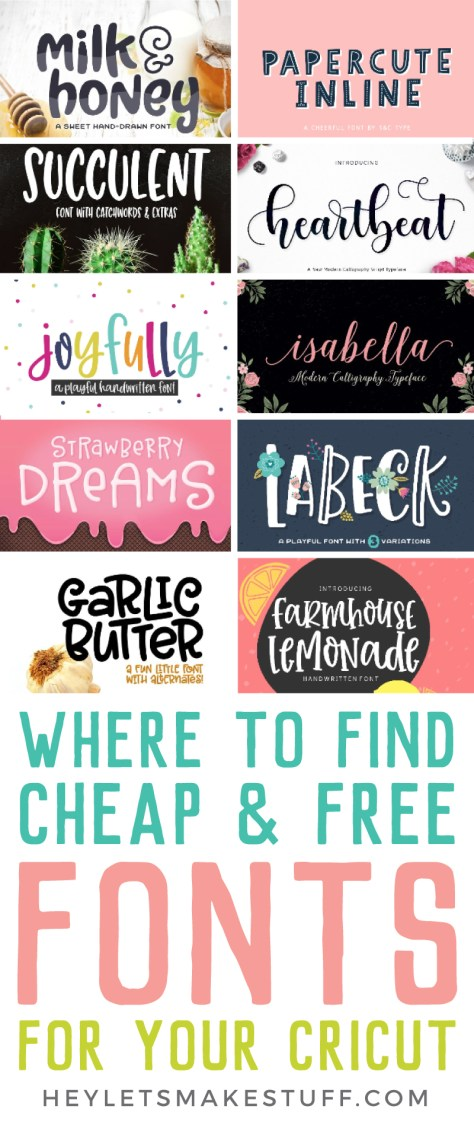 Collage pin image of cheap and free fonts for the Cricut?