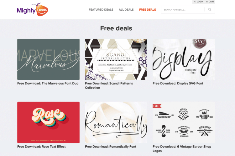 Screenshot of Mighty Deals Homepage with free fonts for the cricut