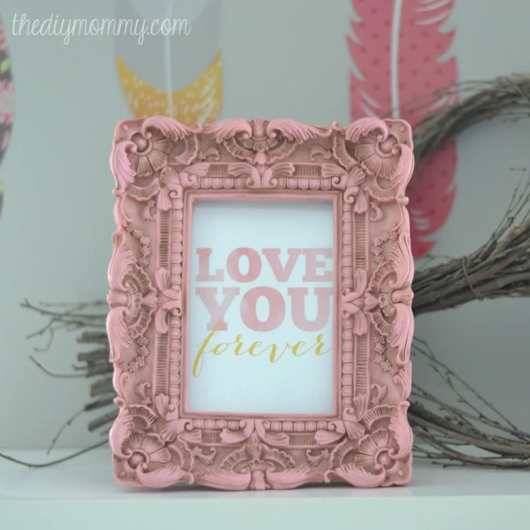 Decorate that nursery with lots of love and pretty pieces of art. This Love You Forever printable from thediymommy.com is perfectly sweet and simple.