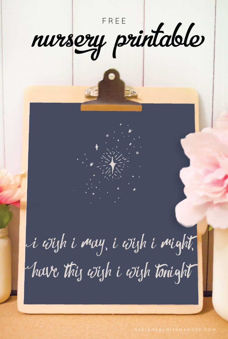 How sweet is this Wish Upon A Star printable from designsbymissmandee.com? Perfect for any nursery or child's bedroom.