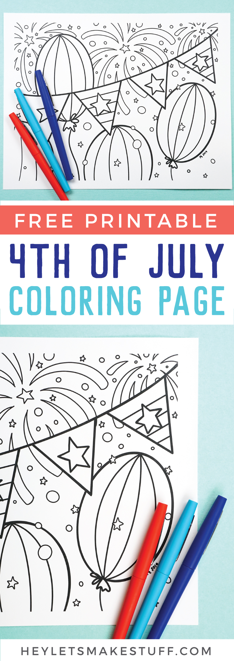 This free printable 4th of July coloring page will get you in the patriotic mood. Kids and adults alike will love creating this Independence Day masterpiece. Print it out for free, grab your favorite colors and bring the page to life! via @heyletsmakestuf