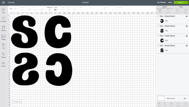 Screenshot: Letters duplicated and reversed in Cricut Design Space