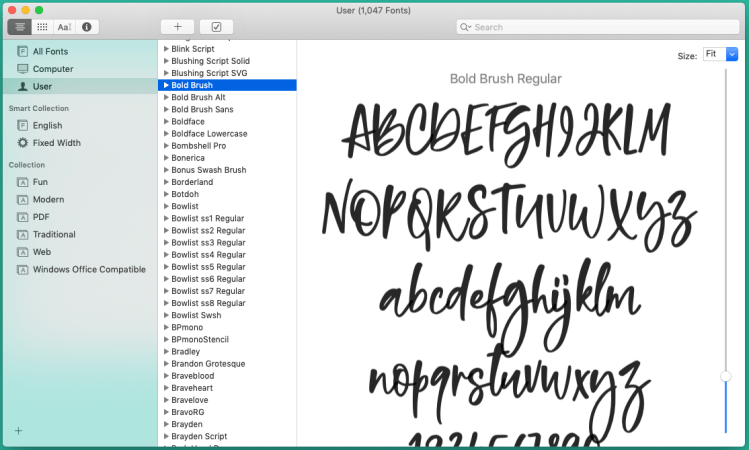 screenshot of font installation