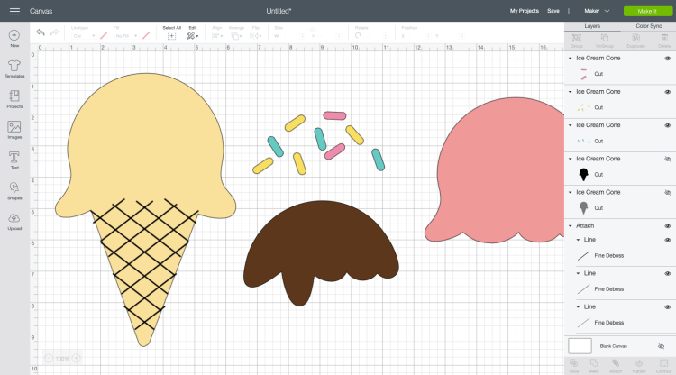 Ice Cream Cone in Cricut Design Space