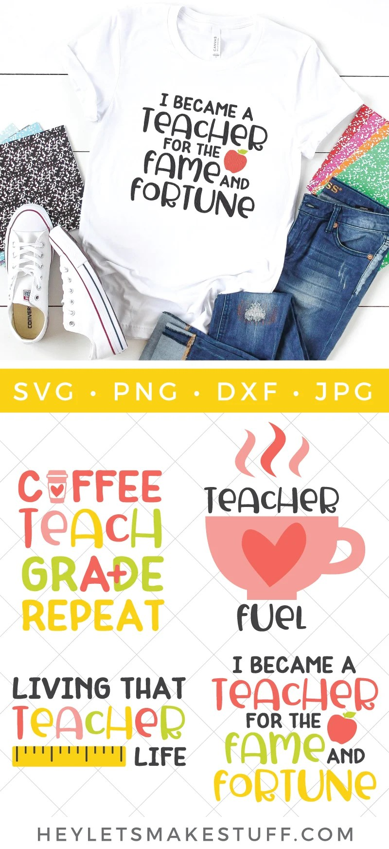 Teachers are my heroes! This Back to School Teacher SVG Bundle has everything a teacher needs to kick off the school year. Add some humor, wit and teacher truths to your notebooks, totes, tees, coffee mugs and much more. via @heyletsmakestuf