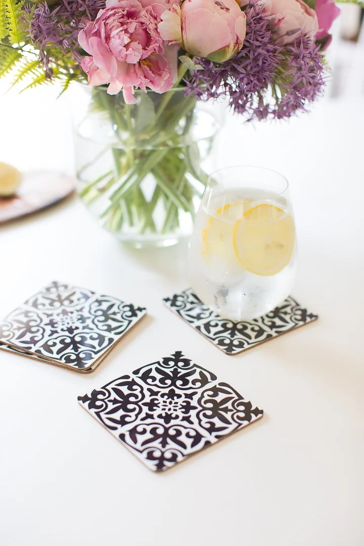 Craftberrybush.com uses Cricut Infusible Ink to create these chic DIY coasters. Dress up your very own set and give your guests somewhere trendy to place their drinks.