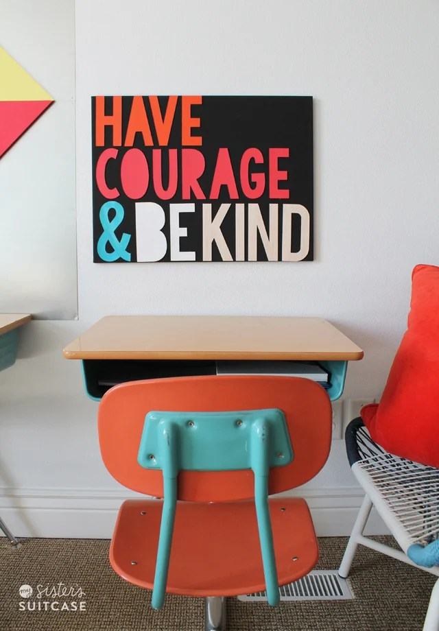 Sisterssuitcaseblog.com created this awesome and bold wooden sign with her Cricut. I love the message here and can definitely see this colorful piece hanging on a wall in my home.