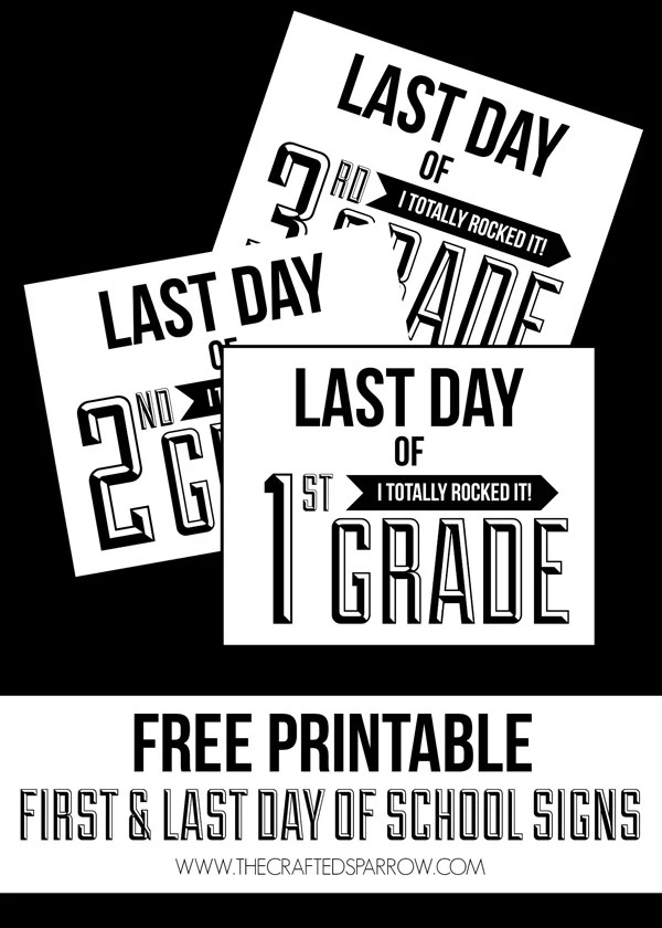 Snap your first and last day of preschool all the way to high school photos with these black and white printables from thecraftedsparrow.com.