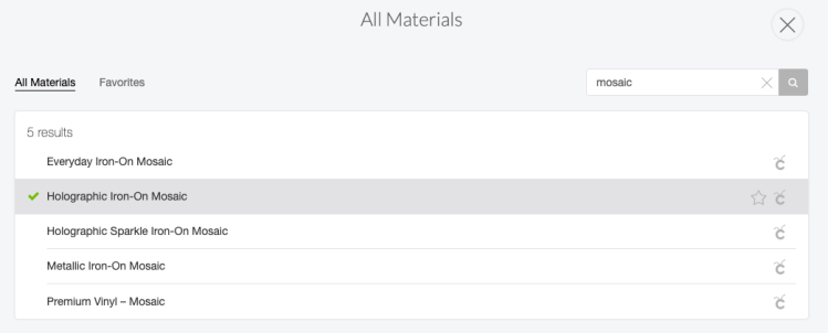Choose your correct material in the All Materials window.