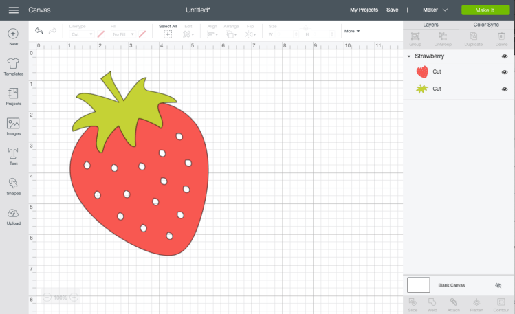 Upload strawberry image to Cricut Design Space