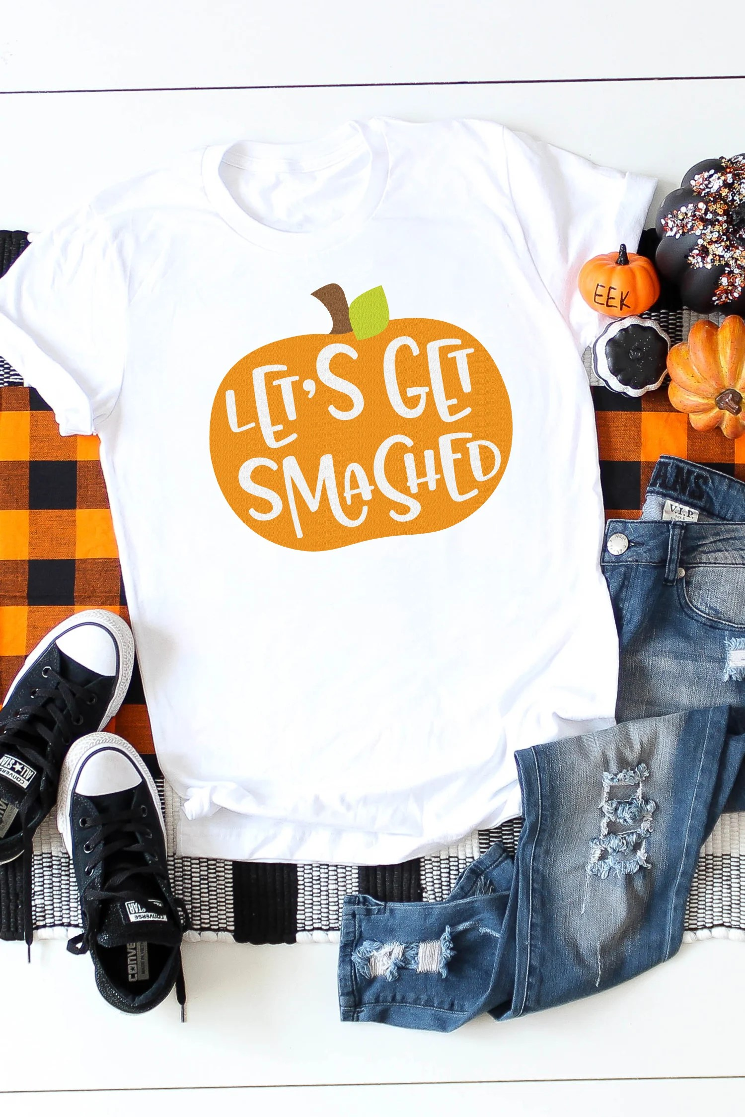 It's pumpkin season and that calls for celebration! Show your true pumpkin spirit with this Let's Get Smashed Pumpkin SVG. T-shirts, party decor, tumblers - everything needs a pumpkin touch.