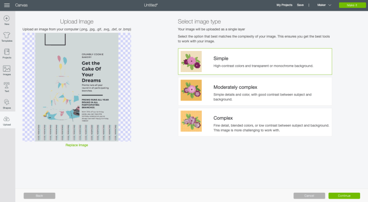 Screenshot: Upload Image Screen in Design Space