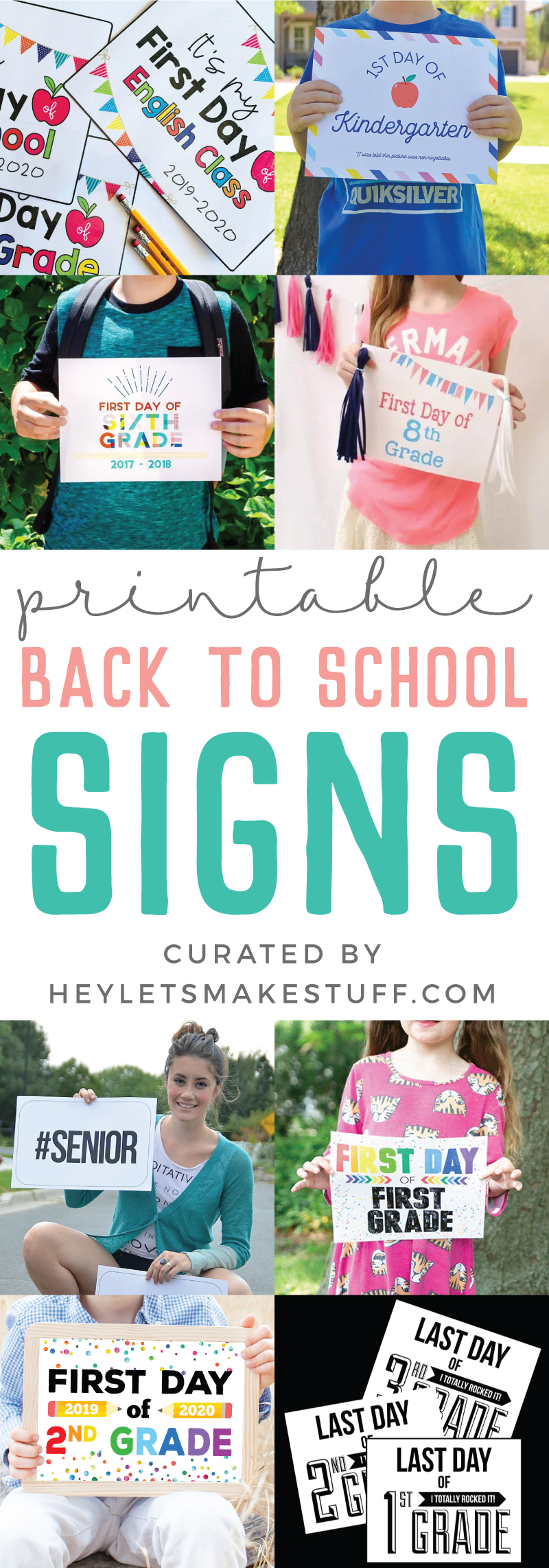School is back in session! Capture all those amazing and memorable 1st day pics with this awesome collection of Printable First Day of School Signs.  via @heyletsmakestuf
