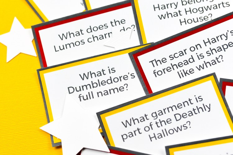 Close up of trivia cards