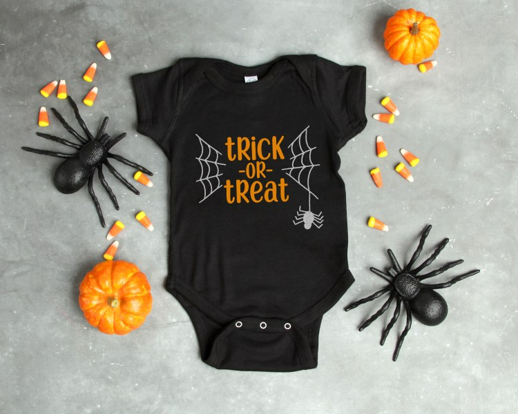 It's time to get all that Halloween gear ready so the little ones can hit the streets to load up on candy! Dress even your littlest ghoul for the occasion with this Trick or Treat cut file from happinessishomemade.com.
