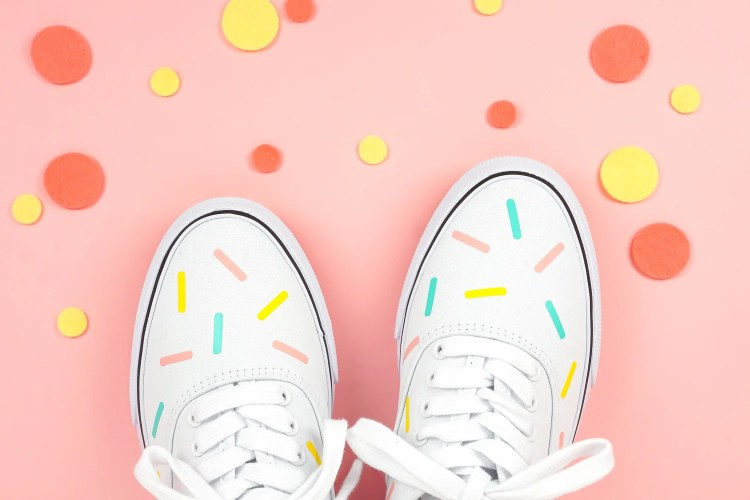 white canvas shoes with sprinkle pattern using Iron On Vinyl