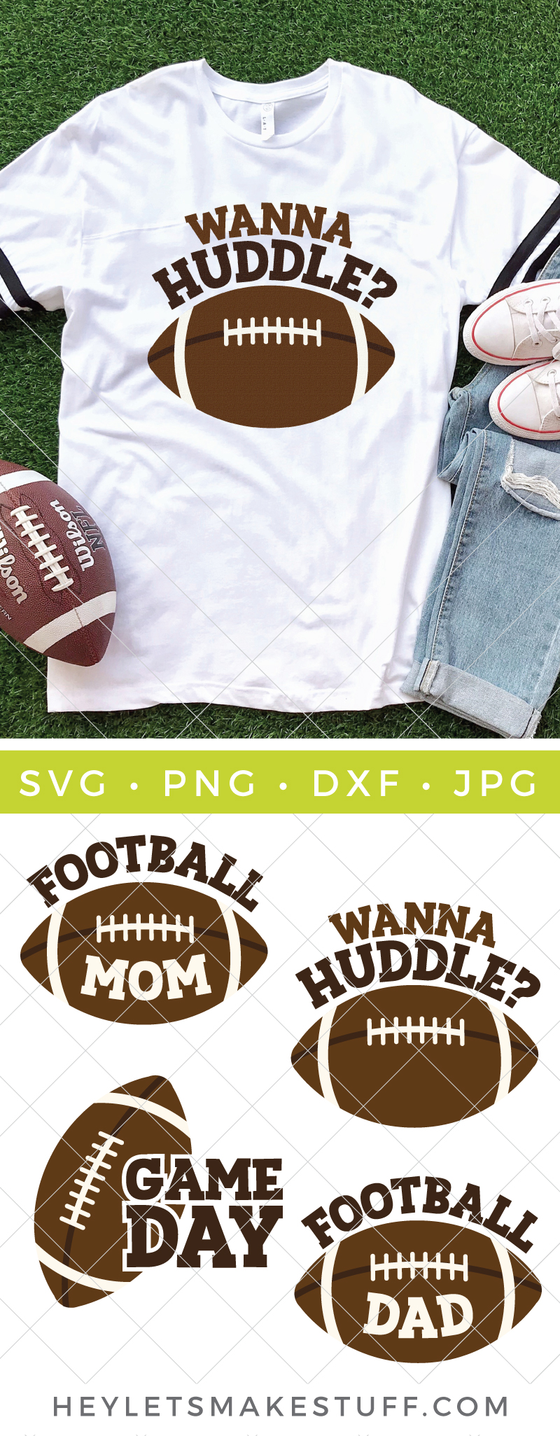 If your favorite part of fall is the beginning of football season then get ready  to cheer for this Football SVG Bundle. Get those t-shirts, sweatshirts, ball caps, totes and more game day ready! via @heyletsmakestuf