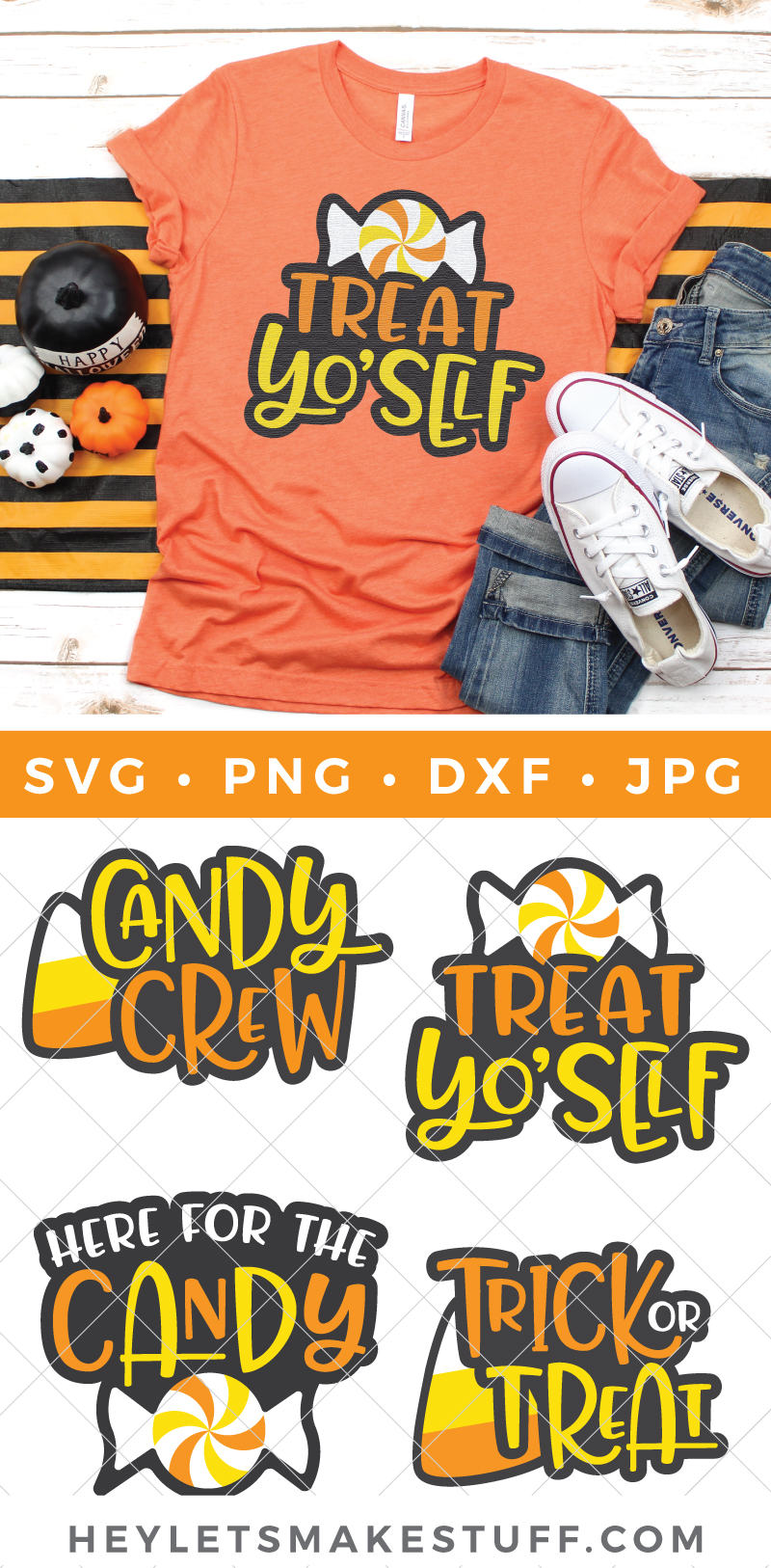 Get ready for all those sweets, treats and sugar highs with this Halloween Candy SVG Bundle. Sweeten up t-shirts, trick or treat bags, party decorations and more! via @heyletsmakestuf