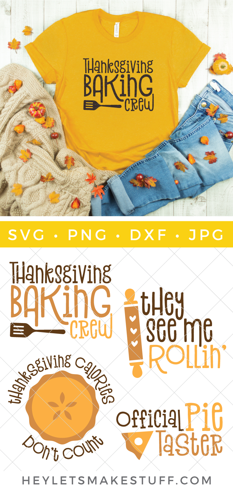 Are you the holiday baker? Or more of a quality control manager? This scrumptious Fall Baking SVG Bundle will put you in the cooking and eating mood!  via @heyletsmakestuf