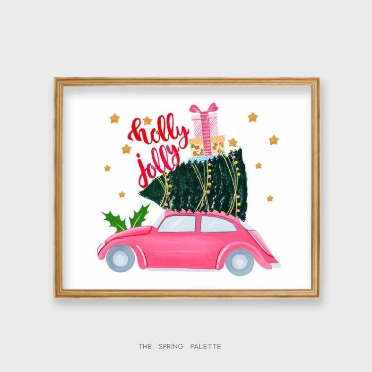CHRISTMAS DECOR, Holly Jolly print, Christmas printable, Holiday Prints, Art Prints, Home Decor