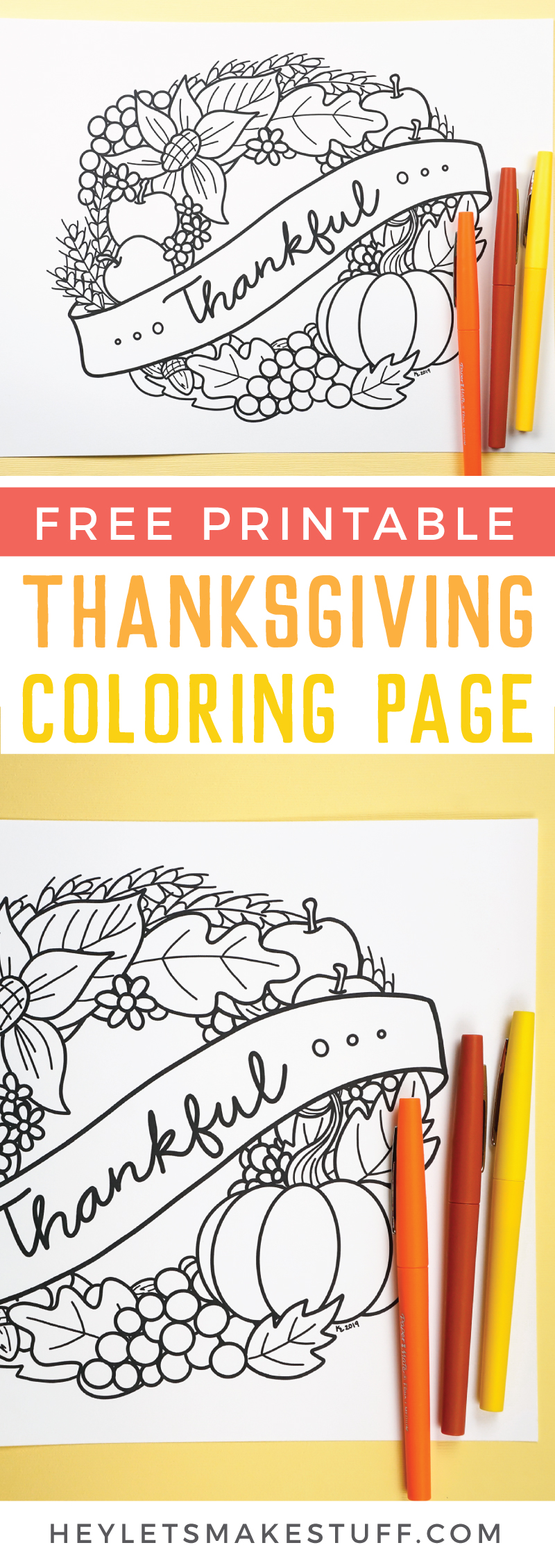 Gobble Gobble! It's turkey season and the food isn't the only fun. Bring Free Printable Thanksgiving Coloring Page to life while you wait for the turkey to finish cooking. via @heyletsmakestuf