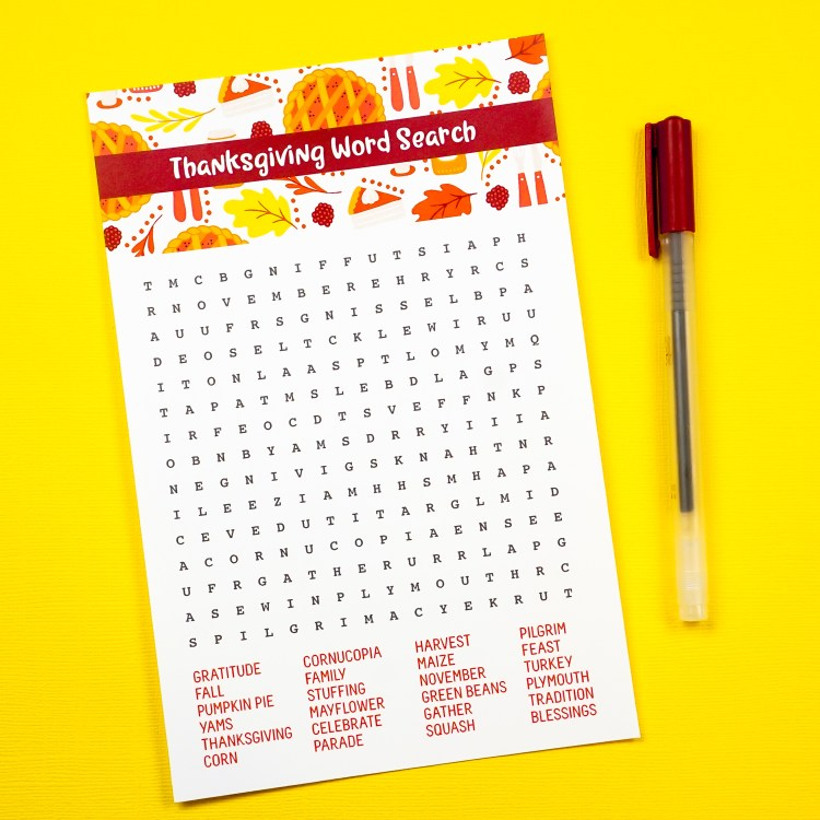 Turkey takes a while to cook. Pass the time with this free printable Thanksgiving word search! Turkey, pie, and all your other Thanksgiving favorites are ready to find in this Thanksgiving game.