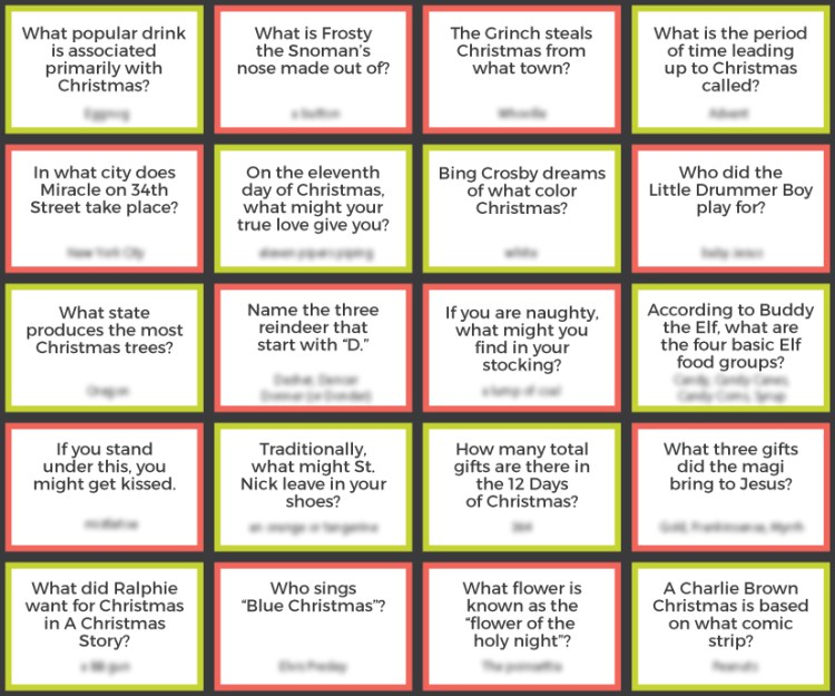 Christmas Trivia with answers blurred