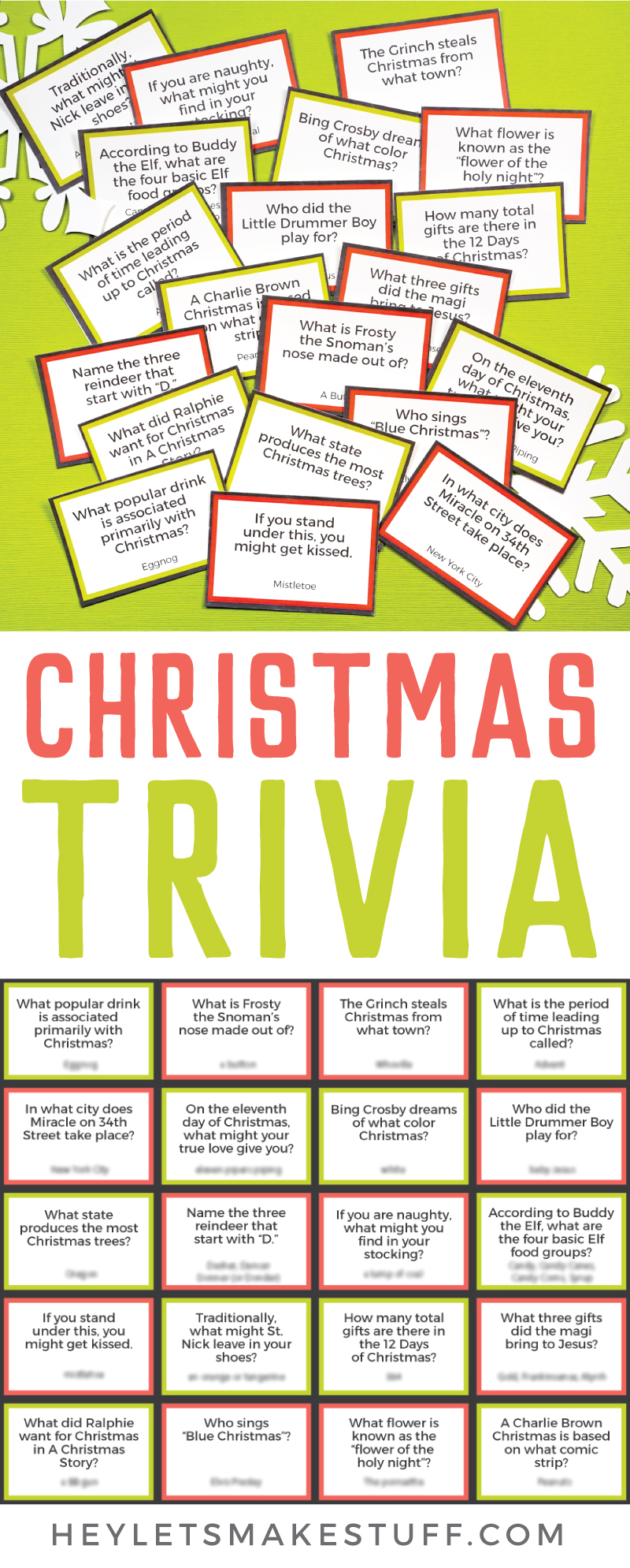 Test your knowledge of the merriest of holidays with this free printable Christmas trivia. Play with family and friends as you sip hot cocoa around a fireplace or plan a trivia night with friends for some holiday cheer! via @heyletsmakestuf