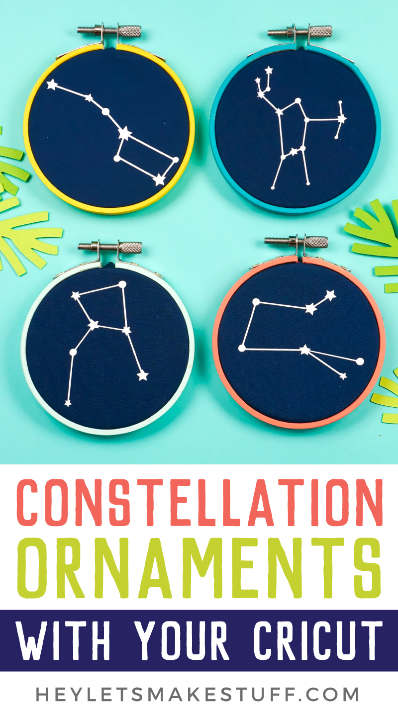 Love the look of embroidery hoop ornaments...but lack sewing skills? Iron on vinyl to the rescue! Use your Cricut or other cutting machine to make these quirky constellation embroidery hoop Christmas ornaments! via @heyletsmakestuf