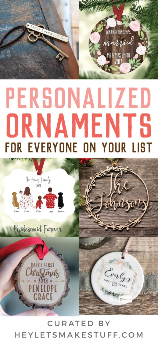 Trim your tree and deck your halls with these beautiful personalized ornaments from Etsy! These ornaments will be cherished for years to come and make great Christmas gifts for family members, new parents, teachers, kids, loved ones, and more.