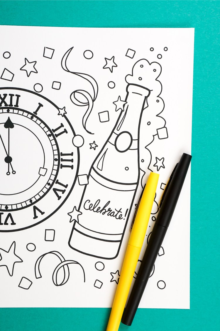 Let the countdown begin! Ring in the new year with celebration and a whole lot of color. Bring this free printable New Year's Eve coloring page to life as you wait for the clock to strike midnight!