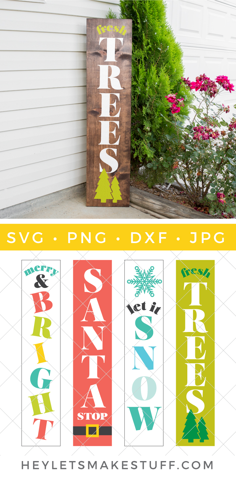 Take your holiday decorating to new heights with this Vertical Christmas Signs SVG bundle. Get all the merry and jolly inspiration you need with these four festive cut files. via @heyletsmakestuf