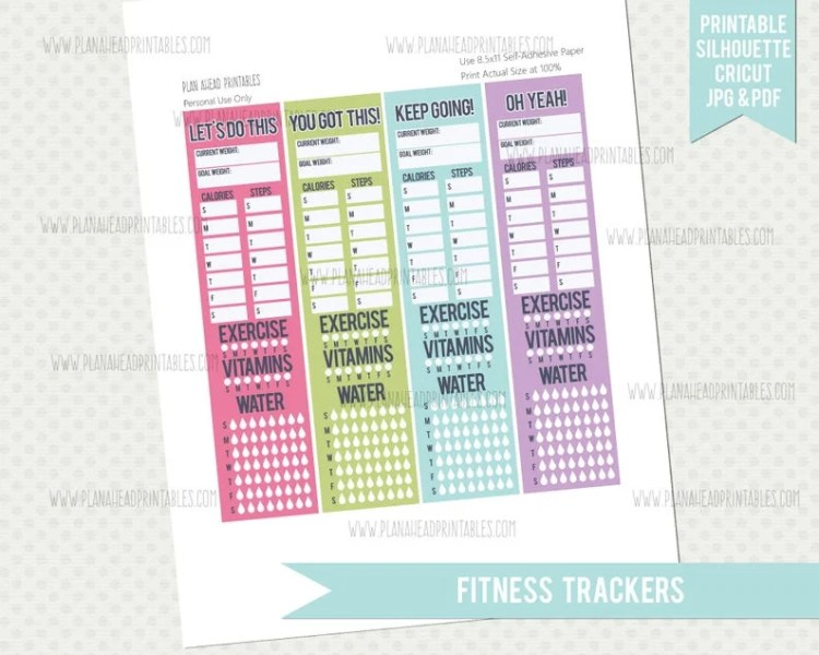 Plan Ahead Printables - Fitness Tracker